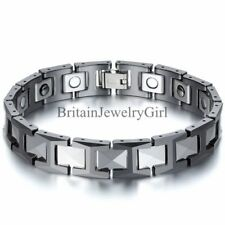 12MM Men 's Ceramic Tungsten Carbide Magnetic Link Bracelet Bangle Cuff 8.3""