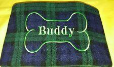 Personalised fleece dog blanket green tartan 27x39inches pet bedding