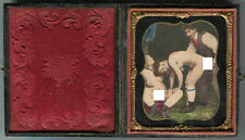 RARE EROTIQUE FRENCH 1/6 CALOTYPE HAND TINTED FULL CASED