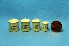 Dollhouse Miniature Metal canister Set in Cream ~ Im65259