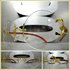 Men's Vintage Retro Style Round Clear Lens EYE GLASSES Rimless Gold & Wood Frame