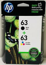 HP #63 Combo Ink Cartridges 63 Black & Color NEW GENUINE In Date 2019