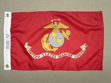 "USMC U.S. Marine Corps Indoor Outdoor Dyed Nylon Boat Flag Grommets 12"" X 18"""