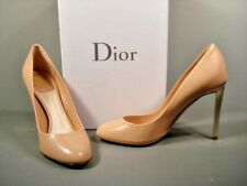 DIOR 38/8 Sublime Beige Leather Round Toe Gold High Heels Pumps Discount NEW