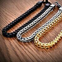 Punk Men's Stainless Steel Keel Chain Link Bracelet Wristband Bangle Jewelry NEW