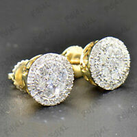 1.20 Ct Round Diamond 10k Real Yellow Gold Halo Cluster Stud Earrings For Womens