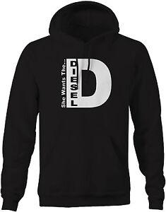 Hoodie Men -She Wants the D Diesel Funny Truck