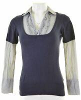 MONSOON Womens Top Blouse UK 8 Small Blue Cotton  IU19