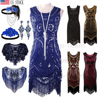 Roaring 20's Vintage 1920s Flapper Gatsby Dress Formal Evening Party Dresses