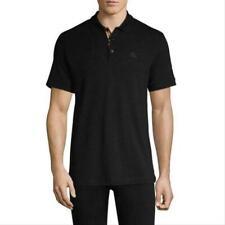 Burberry London England Nova Check Polo Shirt Mens pique Size MEDIUM BLACK #V2