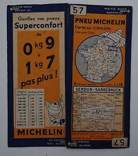 Carte MICHELIN old map FRANCE VERDUN SARREBRUCK METZ 1932 Bibendum pneu tyre