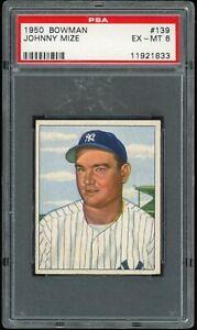 1950 Bowman Johnny Mize #139 PSA 6 EX-MT