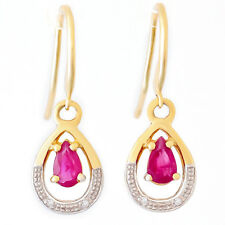 NATURAL PEAR RUBY DIAMOND EARRINGS. SOLID 9K 375 GOLD REAL DIAMONDS GIFT BOXED.