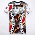 King of Hearts Poker Card Funny Graphic Printed Casual T Shirts O-Neck Tee Top
