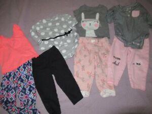 euc lot 4 Carters top leggings pants sets baby girls 12 m free ship USA