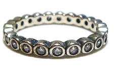 WOMENS STACKABLE STACKING STERLING SILVER & CZ ETERNITY RING BAND SIZE 6.25