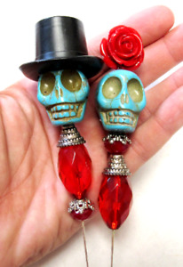 Blue & Red Day of the Dead Bride Groom Sugar Skull Wedding Cake Topper Lapel Pin
