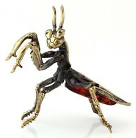 Praying Mantis Brass Bronze Insect Figurine Baltic Amber Miniature Sculpture