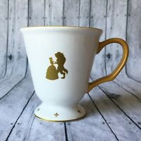 Disney Beauty And The Beast Mug Cup Fairytale Collection White Gold Disneyland