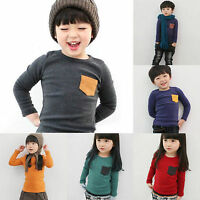 Toddler Kids Cotton Long Sleeve T-shirt Tee Baby Boys Girls Jumper Tops Clothing