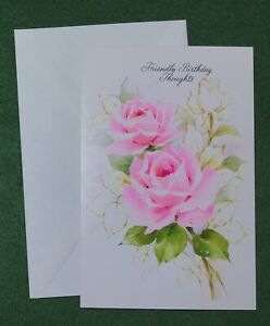 vintage Greeting Card Friendly Birthday Thoughts nostalgic 70s UNUSED envelope