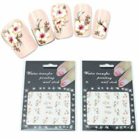 Nail Art Painting Wraps Water Transfers Stickers Decals Set Pink White Flowers