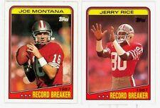 JOE MONTANA/JERRY RICE '88 TOPPS REC-BREAKERS #4/#6 HOF'ERS SHARP/CLEAN NM-MT