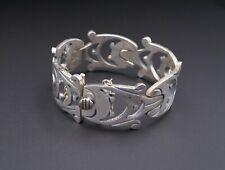 "Taxco Artisan Sterling Silver Geometric Panel Bracelet 6.5"" Signed JS BS2098"