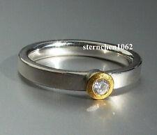 Einzelstück * Ring * 925 Silber * 24 ct Gold * Brillant *
