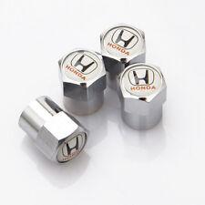 4 x Silver Chrome Tyre Valve Dust Caps (Fits HONDA) - WHITE