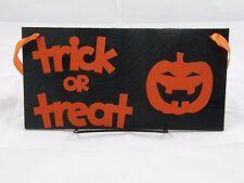 Halloween Wood Sign Door Hanger Wall Hanger Trick or Treat With Pumpkin