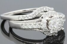 10K WHITE GOLD .66 CARAT WOMENS REAL DIAMOND ENGAGEMENT RING WEDDING BAND SET