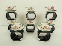 Set of 8 Department 56 Tea Cup & Saucer Napkin Rings Holders Pink Purple Flowers