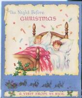 VINTAGE CHRISTMAS ST NICK CHILDREN SLEEPING BED NIGHT POP UP GREETING CARD PRINT