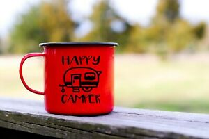 Happy Camper Vinyl Decal for Stainless Tumblers Camping Mug Coffee Travel Cups