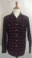 Vintage LL Bean Flannel Shirt Plaid Red Outdoors Warm USA Made Size M Long