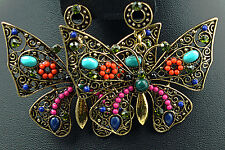 vintage stytle multi-colour crystal butterfly drop dangle earrings antique gold