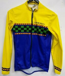 Lemond Vintage Long Sleeve Cycling Jersey Large Blue Yellow Checker RARE