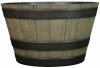 Resin Whiskey Barrel Flower Pot Round Planter Indoor Outdoor Garden Patio Yard