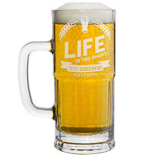 New Beer Mug with Awesome Beer Quotes! Laser Etched Libbey Mugs - 22 ounces