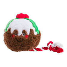 House of Paws Party Animal Christmas Pudding Dog Toy   Squeaky Rope Plush Large