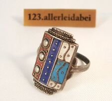 alter Emaille Ring Silber Enamel old silver enamel ring Email Emaile / AT 772