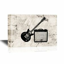 wall26 - Canvas Wall Art - Electric Guitar Leaning on a Small Amplifier - 24x36