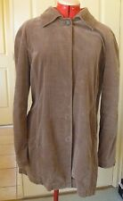 Country Road Brown Long Length Jacket Coat Velvet Look Button Front - Size XL