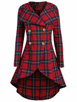 UK Gothic Vintage Women Steampunk Victorian Check Plaid Long Trench Coat Jacket