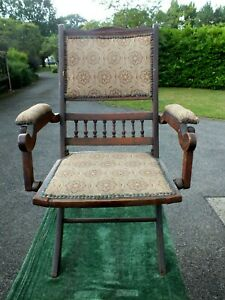 Unusual Victorian Mahogany Folding Steamer Chair with Tapestry Panels Circa 1875