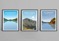 The Lake District Set Of 3 Art Prints - Windermere, Great Gable, Ullswater Scene