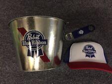 PBR Pabst Blue Ribbon Bucket, Truckers Cap +Bottle Opener. Great Christmas Gift!