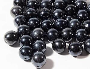 Lot (45) 12mm vintage Czech hematite metallic black round glass beads