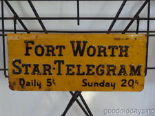 Tin Sign Advertising the Fort Worth Star-Telegram Paper Rack Newspaper Stand